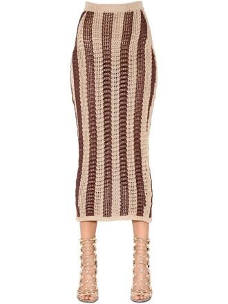skirt pencil skirt knit cotton brown beige