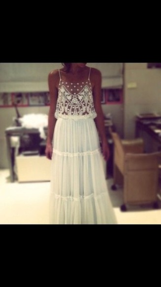 dress long dress maxi dress white dress