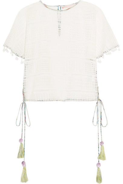 Matthew Williamson top lace top embellished lace white