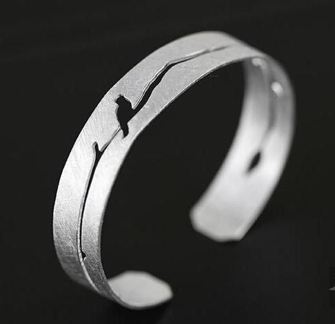 Handmade Pierced Branch Silver Bracelet - Wishbop.com