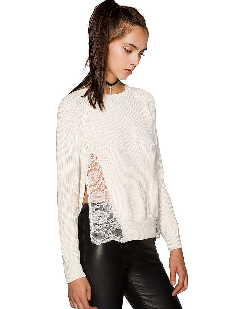 Ivory Lace Sweater - Party Sweater - Winter White Knit - $72.00