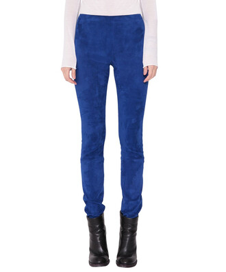 pants blue suede
