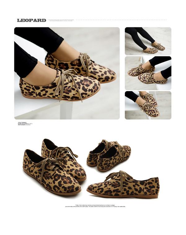 shoes sede oxfords leopard print lace up