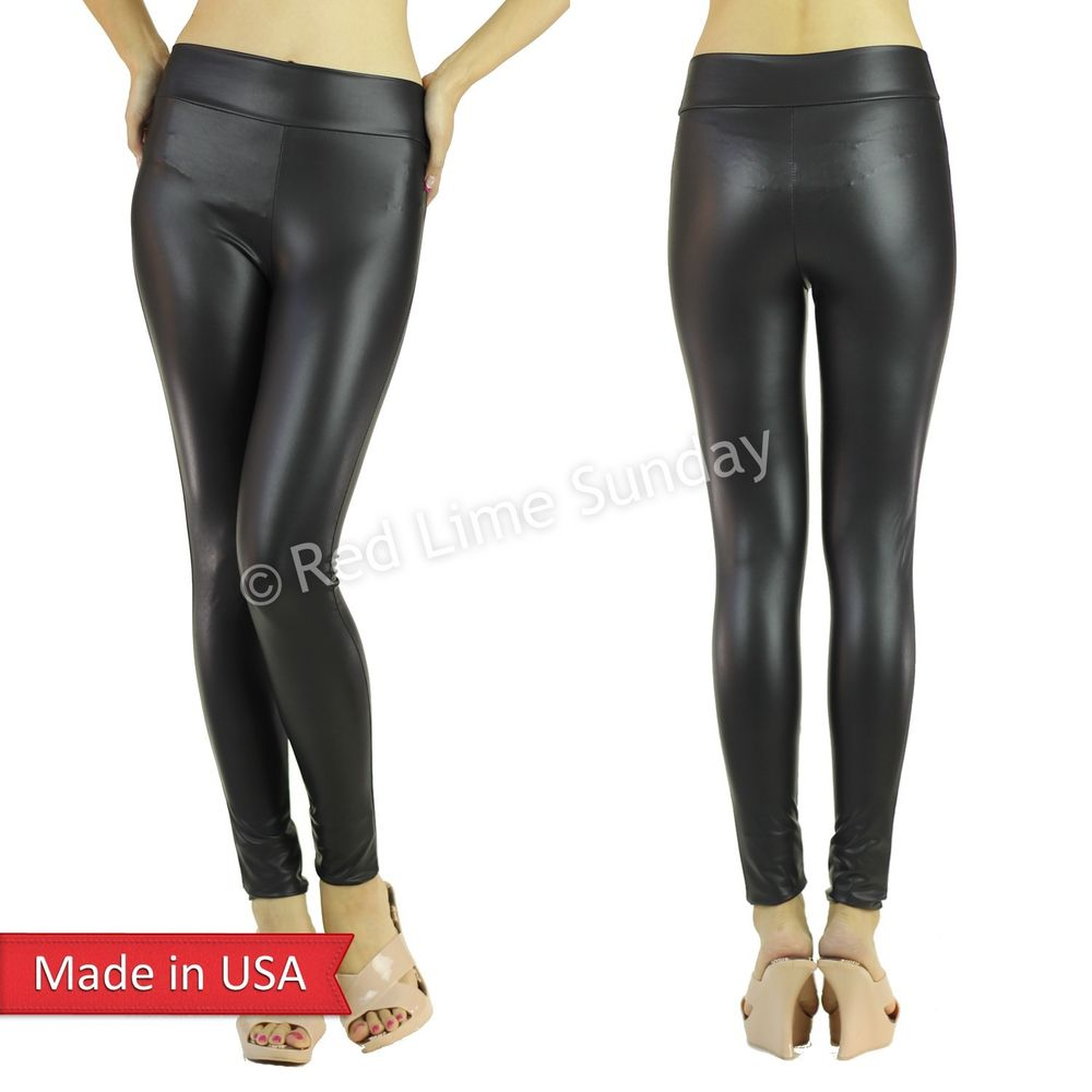 Women Sexy Stylish Matte Wet Look Black Faux Leather Leggings Tights Pants USA
