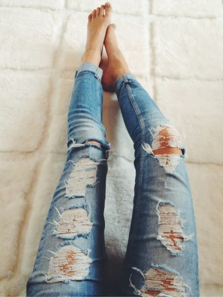 jeans blue jeans skinny jeans ripped jeans ankle jeans pants teen fashion fall fashion holes nice love blue skinny jeans blue ripped skinny