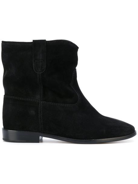 Isabel Marant women leather suede black shoes