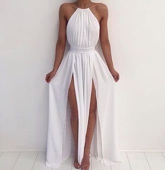 dress white halter neck dress