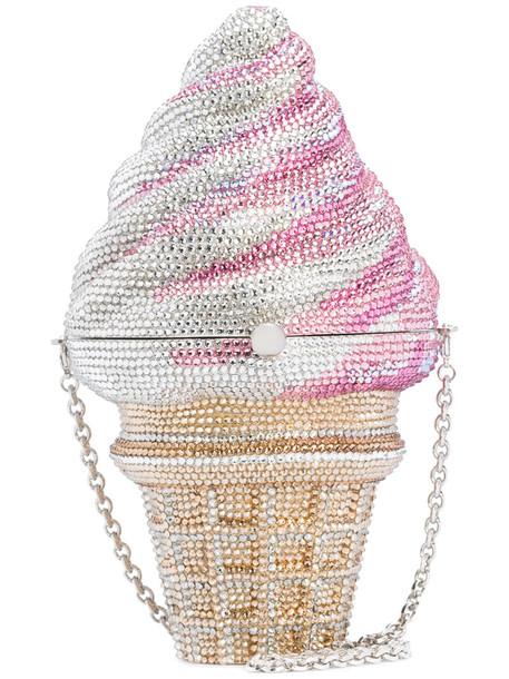 Judith Leiber Couture women ice cream bag cream grey strawberry metallic