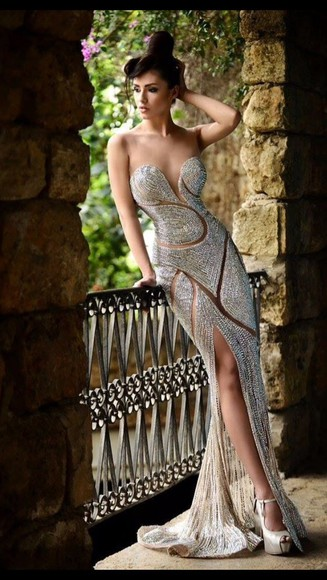 prom dress sweetheart neckline nude and sequined dresseds sequins nude dress full length prom dress strapless dresses