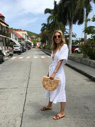 mindbodyswag blogger dress shoes bag sunglasses jewels midi dress white dress cult gaia bag slide shoes flats summer dress summer outfits
