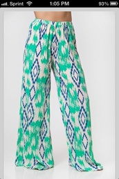 pants,white,blue,green,tribal pattern,baggy pants