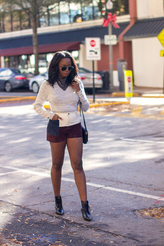 millennielle blogger shorts shirt scarf shoes suede shorts sunglasses aviator sunglasses white top long sleeves boots black boots lace up boots