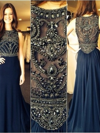Dark Blue Chiffon A-line Beaded Long Prom Dresses, Evening Dresses, Formal Dresses [B0062] - $289.99 : 24inshop