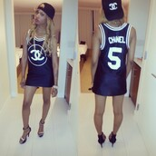 shirt,chanel,clothes,jersey,teyana taylor,shoes,hat,jewels,dress,chanel jersey top,chanel jersery top