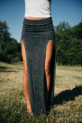 skirt double slit skirt grey skirt maxi skirt