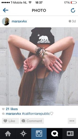 hat beanie california republic tumblr tumblr girl cute winter outfits accessories hair accessory america