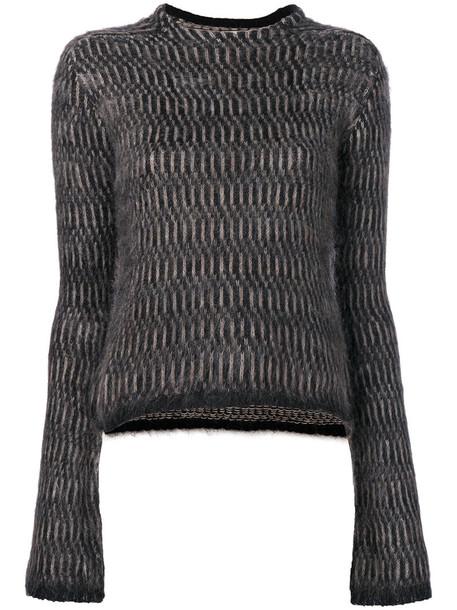 Rick Owens - round neck sweater - women - Polyamide/Merino/Kid Mohair - 38, Black, Polyamide/Merino/Kid Mohair