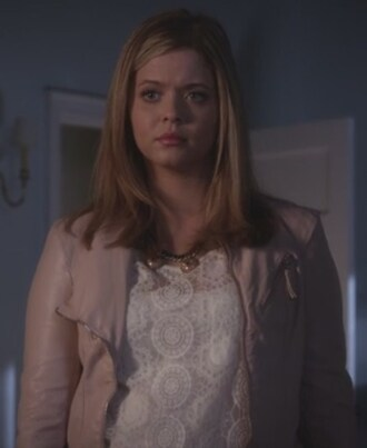blouse white lace beige leather jacket pretty little liars sasha pieterse alison dilaurentis