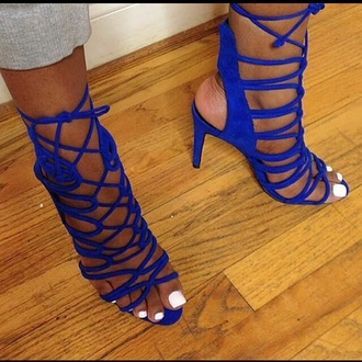 shoes royal blue strappy heels sandals zara sandales bleu talon tendance