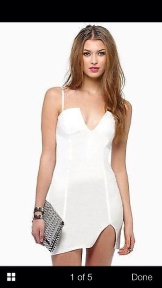 white slit skirt dress white dress white bodycon dress bodycon dresses tight dress slit dress