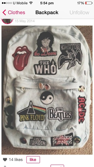 bag the rolling stones pink floyd the beatles ac/dc
