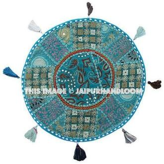 home accessory blue cushions floor cushion bean bag pouf indian pillows dining chair pillows round pillows yoga mat yoga pillows patio cushions outdoor furniture ikea pouf indian handmade cushions patchwork cushions embroidered cushions bedroom cushions day dog bed