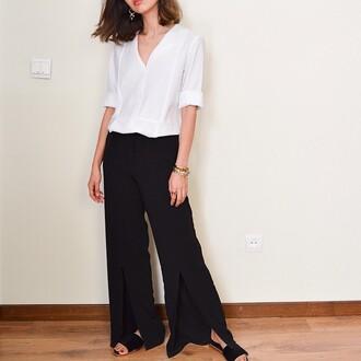 pants saul black pants black and slit slits minimalist bag black leather leopard side slit pants