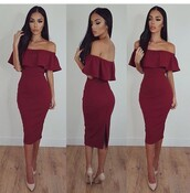 off the shoulder,red dress,burgundy,ruffle,bodycon dress,bodycon,nude heels,make-up,evening dress