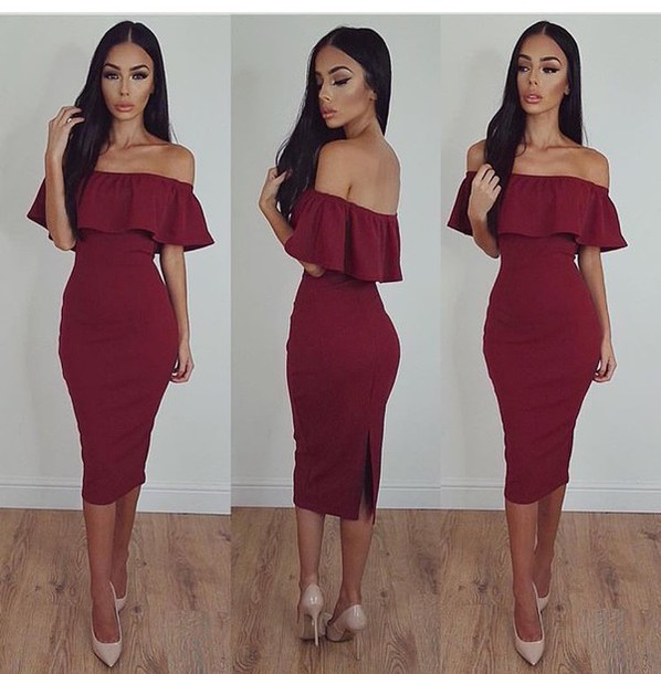 7a463d980af7 off the shoulder red dress burgundy ruffle bodycon dress bodycon nude heels  make-up evening