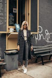 yael steren,blogger,coat,sweater,jeans,shoes,jewels,sunglasses,make-up,nail polish,fall outfits,sneakers,checkered coat
