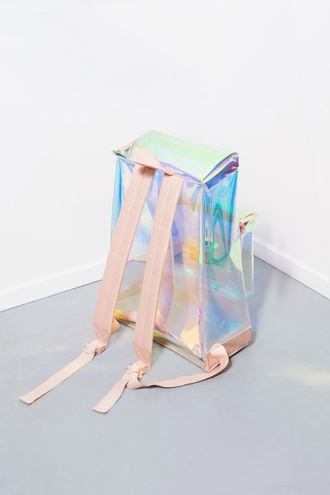 backpack holographic girly girly grunge soft grunge cyber ghetto holographic bag 90s style