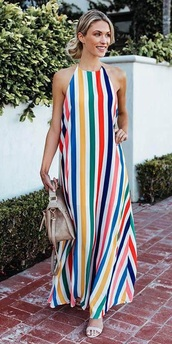 dress,colorful,stripes,boho dress,casual