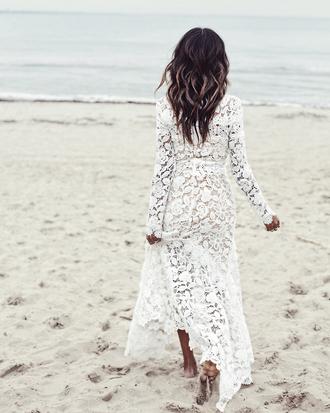 dress tumblr lace dress white lace dress white dress boho wedding dress maxi dress white long dress long dress