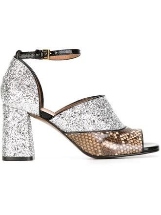 heel chunky heel sandals metallic shoes