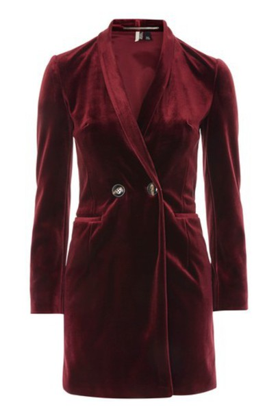dress blazer dress velvet burgundy