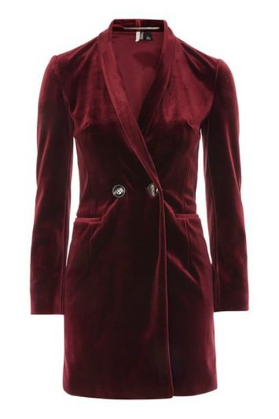 Topshop dress blazer dress velvet burgundy