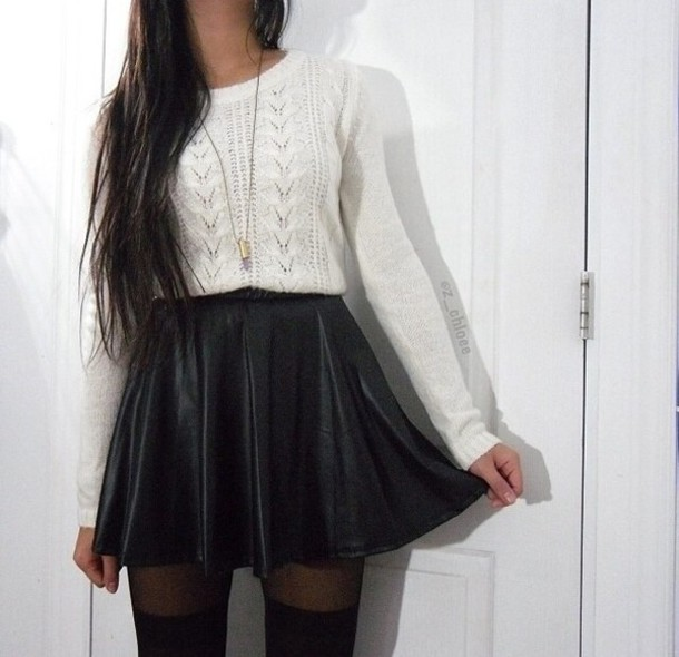 Sweater: white, long sleeves, skirt, white sweater, black skirt ...