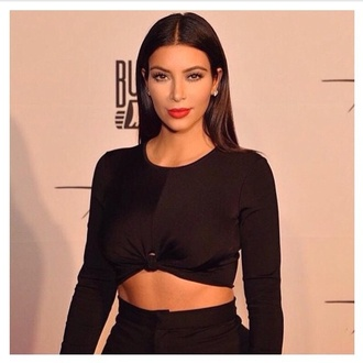 shirt blacklongsleeve longsleeveshirt tiedknot tiedbellyshirt tiedcroptop black top kim kardashian blackcroptop long sleeves crop tops blackshirt
