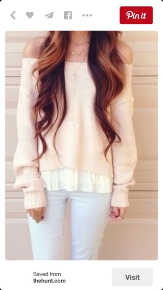 sweater off the shoulder long sleeves pullover winter sweater fashion style fall outfits fall sweater pink pastel