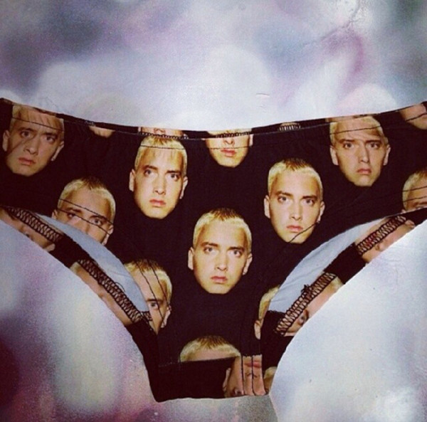 underwear panties black celebrity eminem eminem shirt print eminem sweater love more fashion cool shirts girly tumblr hipster underwear sexy grunge face marshall mathers slim shady