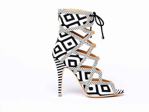 Wanda black and white geometric heels