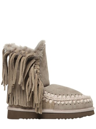 shearling boots boots taupe shoes