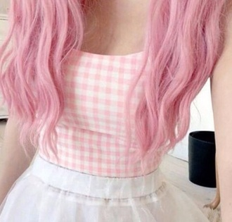 shirt pink and white top pink white
