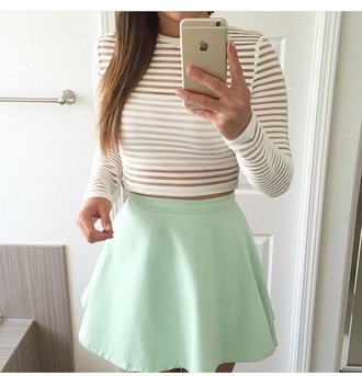top crop tops white top white crop tops see through long sleeves stripes striped top fashion style cute cute top cute outfits mint peplum high waisted high waisted skirt outfit summer outfits date outfit spring outfits