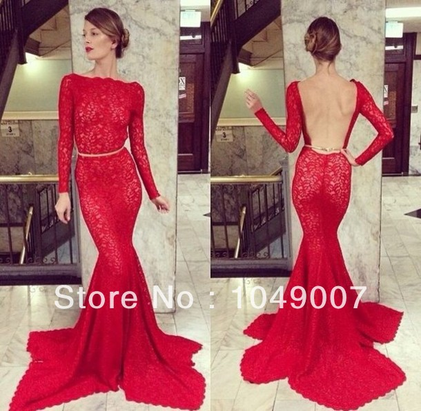 2014 Seductive Red Backless Long Sleeve Evening Dresses Court Train Lace Mermaid Formal Gowns-in Evening Dresses from Apparel & Accessories on Aliexpress.com