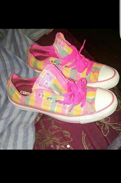 3f088a56e409e9 shoes pink yellow green converse pastel kawaii cute low top colorful vibrant