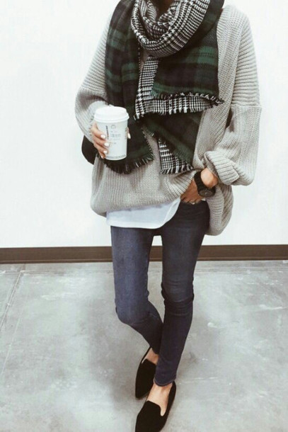 scarf tumblr tartan tartan scarf flannel scarf flannel jeans grey jeans loafers black shoes flats sweater grey sweater oversized sweater oversized coffee
