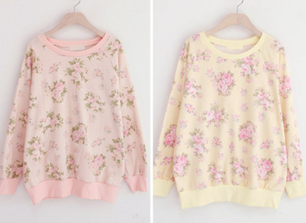 sweater floral sweatshirt pink yellow flowers vintage rose roses cute sweaters oversized sweater tumblr kawaii pastel
