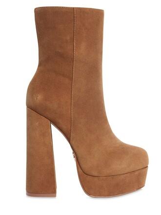 boots platform boots suede tan shoes