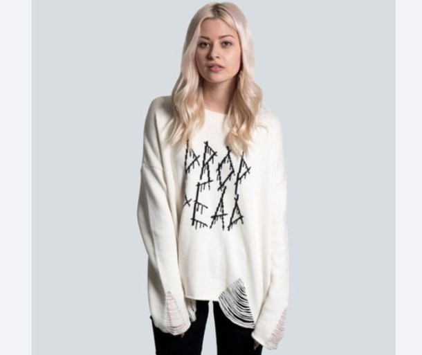 sweater drop dead clothing white ripped clothing drop dead clothing ripped shirt